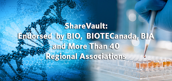 ShareVault Endorsed by BIO, BIOTECanada and More Than 30 Regional Associations