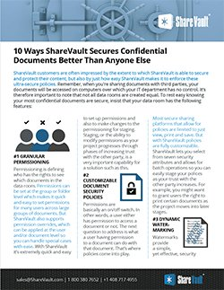 Ten Ways ShareVault Secures Confidential Documents Better Than Anyone Else
