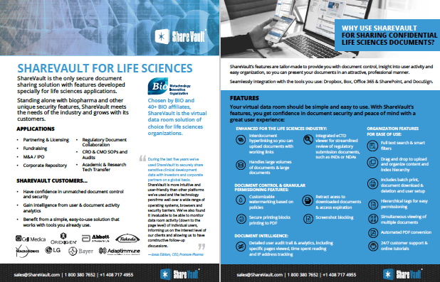 ShareVault for Life Sciences Brochure