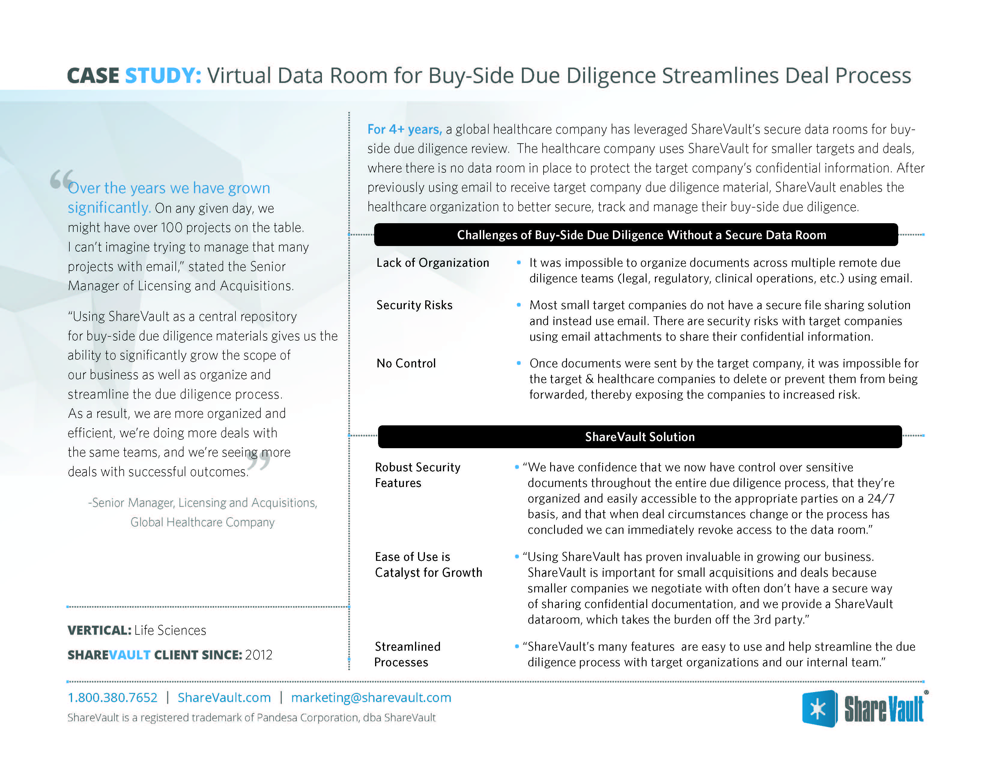 Virtual Data Room for Buy Side Due Diligence