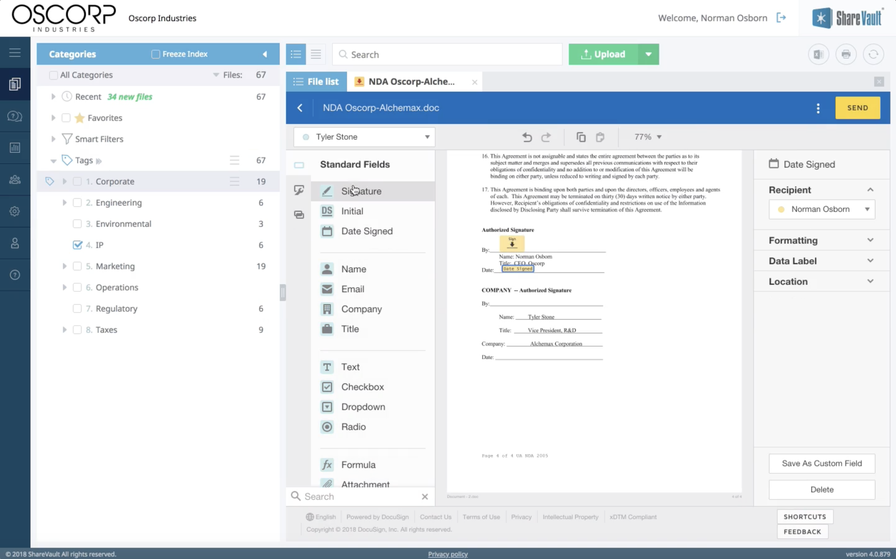 Secure Integration with DocuSign, Box, DropBox, Microsoft 365, SharePoint